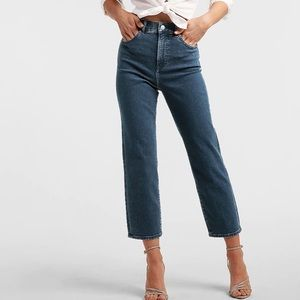 Express Straight Crop High Rise Denim Jeans 6 New